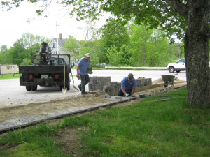 Wieninger Monumental Works tempered the ground and placed all the pavers into the sidewalk.